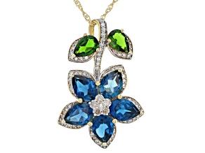 Pre-Owned London Blue Topaz, Green Chrome Diopside, & White Diamond 14K Yellow Gold Pendant 4.69ctw