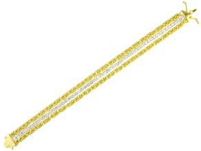 Pre-Owned White Cubic Zirconia 18K Yellow Gold Over Sterling Silver Multi Row Bracelet 9.41ctw
