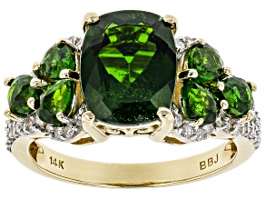 Pre-Owned Chrome Diopside and White Diamond 14k Yellow Gold Ring 4.65ctw
