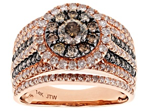 Pre-Owned Champagne And White Diamond 14k Rose Gold Ring 2.00ctw