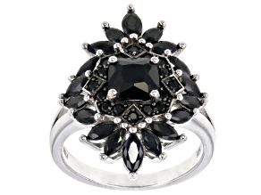 Pre-Owned Black spinel rhodium over sterling silver cluster ring 2.19ctw