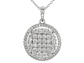 Pre-Owned White Cubic Zirconia Rhodium Over Sterling Silver Pendant With Chain 1.30ctw