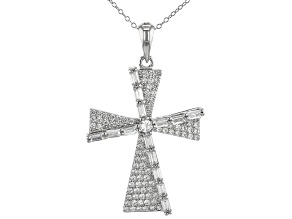 Pre-Owned White Cubic Zirconia Rhodium Over Sterling Silver Cross Pendant With Chain 1.00ctw