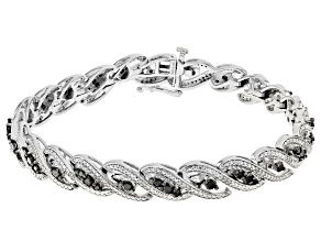 Pre-Owned Black And White Diamond Rhodium Over Sterling Silver Tennis Bracelet 2.00ctw