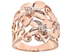 Pre-Owned White Topaz Copper Flower Ring 0.20ctw