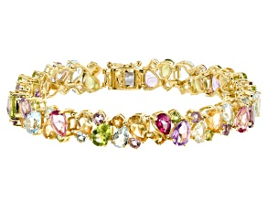 Pre-Owned Multi-color gemstone 18k yellow gold over silver bracelet 24.27ctw