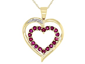 Pre-Owned Red Ruby 10k Yellow Gold Heart Pendant with Chain 0.64ctw