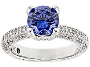Pre-Owned Blue And White Cubic Zirconia Platineve ® Ring 2.98ctw