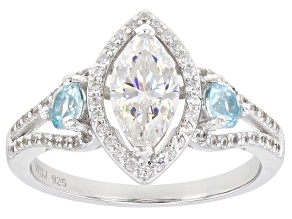 Pre-Owned Fabulite Strontium Titanate and apatite with white zircon rhodium over silver ring 2.10ctw