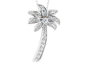 Pre-Owned White Cubic Zirconia Rhodium Over Sterling Silver Pendant With Chain .45ctw