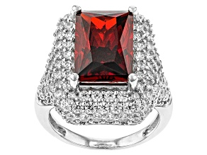 Pre-Owned Red And White Cubic Zirconia Rhodium Over Sterling Silver Ring 13.52ctw