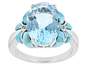 Pre-Owned Sky Blue Topaz Rhodium Over Silver Ring 6.42ctw