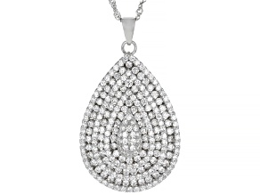 Pre-Owned White Cubic Zirconia Rhodium Over Sterling Silver Pendant With Chain 2.04ctw (1.13ctw DEW)