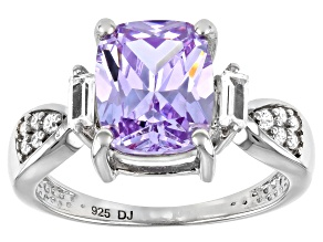 Pre-Owned Lavender And White Cubic Zirconia Rhodium Over Sterling Silver Ring 5.55ctw (4.23ctw DEW)