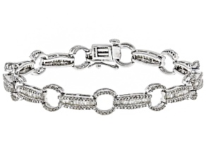 Pre-Owned White Diamond Rhodium Over Sterling Silver Bracelet 1.85ctw
