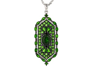 Pre-Owned Green Chrome Diopside Rhodium Over Silver Pendant With Chain 4.76ctw