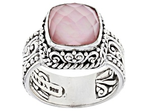 Pre-Owned Light Pink Quartz Doublet Silver Solitaire Ring