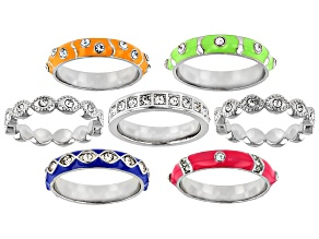 Pre-Owned White Crystal, Multi-Color Enamel Silver Tone Stackable Ring Set of 7