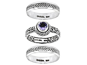 Pre-Owned Blue Tanzanite Sterling Silver Stackable Set of 3 Rings