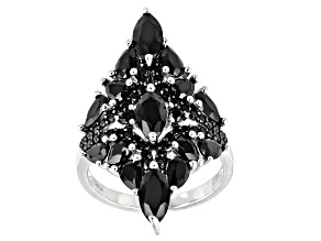 Pre-Owned Black spinel rhodium over sterling silver cluster ring 3.81ctw