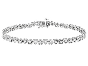 Pre-Owned White Diamond Rhodium Over Sterling Silver Heart Tennis Bracelet 0.25ctw