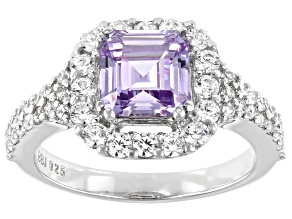 Pre-Owned Asscher Lavender Cut And White Cubic Zirconia Rhodium Over Silver Ring 4.50ctw (2.78ctw DE