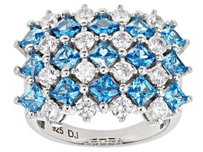 Pre-Owned Blue And White Cubic Zirconia Rhodium Over Sterling Silver Ring 5.62ctw