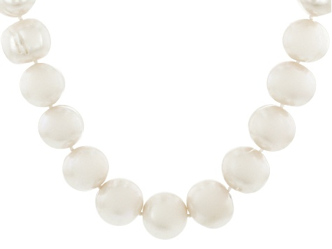 Pre-Owned White Cultured Freshwater Pearl Rhodium Over Sterling Silver 22 Inch Strand Necklace