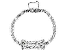 Pre-Owned White Cubic Zirconia Rhodium Over Sterling Silver Bracelet 5.15ctw