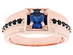 Pre-Owned Blue Lab Created Spinel Copper Men's Ring 1.84ctw