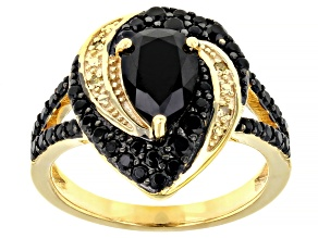 Pre-Owned Black spinel 18k yellow gold over silver ring 1.84ctw