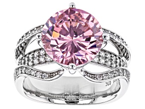 Pre-Owned Pink And White Cubic Zirconia Rhodium Over Sterling Silver Ring 11.44ctw