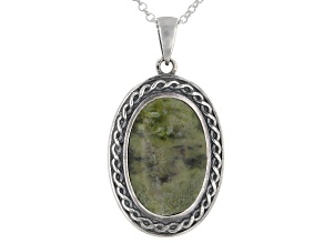 Pre-Owned Connemara Marble Sterling Silver Shield Pendant With Chain