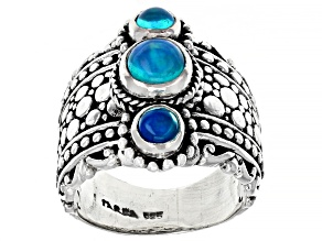 Pre-Owned Blue Paraiba Opal Sterling Silver Ring