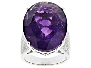 Pre-Owned African Amethyst Rhodium Over Sterling Silver Ring 20.75ctw
