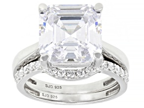 Pre-Owned White Cubic Zirconia Rhodium Over Sterling Silver Asscher Cut Ring With Band 11.23ctw