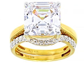Pre-Owned White Cubic Zirconia 18K Yellow Gold Over Sterling Silver Asscher Cut Ring With Band 11.23