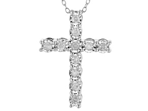 Pre-Owned White Diamond Rhodium Over Sterling Silver Cross Pendant With Chain 0.25ctw
