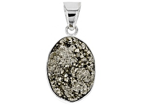 Pre-Owned Drusy Pyrite Rough Sterling Silver Pendant