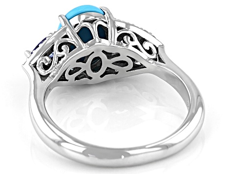 Pre-Owned Blue Sleeping Beauty Turquoise Rhodium Over Silver Ring .34ctw