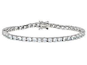 Pre-Owned Aquamarine Rhodium Over Sterling Silver Tennis Bracelet 11.28ctw