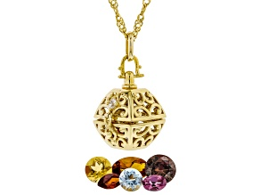 Pre-Owned Multi-color gemstone with 18K yellow gold over sterling silver pendant with chain 1.32ctw