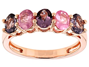 Pre-Owned Multi-Color Spinel 18k Rose Gold Over Sterling Silver Ring 1.53ctw