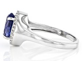 Pre-Owned Blue Tanzanite Rhodium Over Silver Ring 1.75ctw