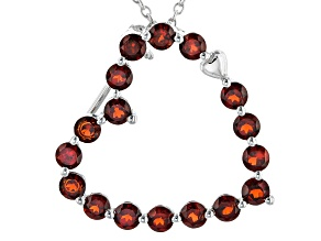 Pre-Owned Red Garnet Rhodium Over Sterling Silver Pendant With Chain 1.87ctw