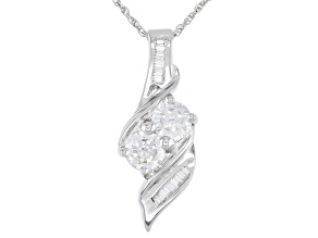Pre-Owned White Cubic Zirconia Rhodium Over Sterling Silver Pendant With Chain 1.72ctw