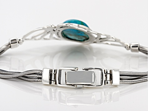 Pre-Owned Blue Turquoise Sterling Silver Solitaire Bracelet