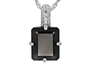 Pre-Owned Black Spinel Rhodium Over Sterling Silver Pendant With Chain 6.33ctw