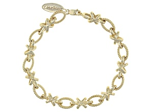 Pre-Owned 18k Yellow Gold Over Sterling Silver Bracelet