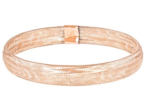 Pre-Owned 10K Rose Gold Over 10K Yellow Gold 8MM Domed Stretch Mesh Bangle Bracelet